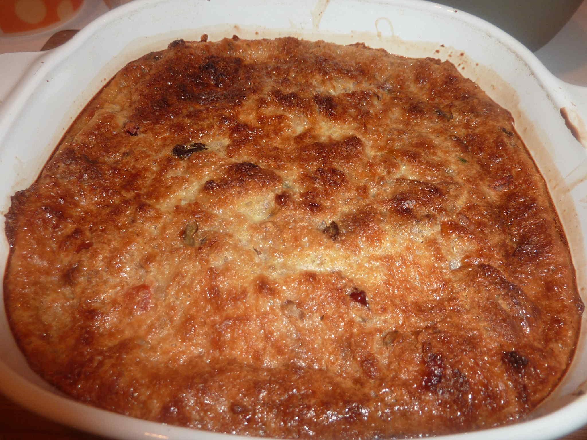Panettone Bread Pudding with Amaretto Sauce